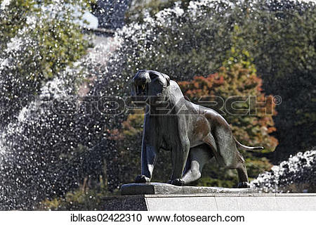 Stock Photography of Tiger, sculpture by Philip Hart, Grugapark.