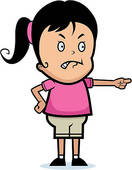 Clipart of Teen girl and her grumbling father k5980262.