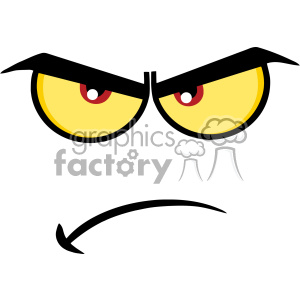 10853 Royalty Free RF Clipart Angry Cartoon Funny Face With Grumpy  Expression Vector Illustration clipart. Royalty.