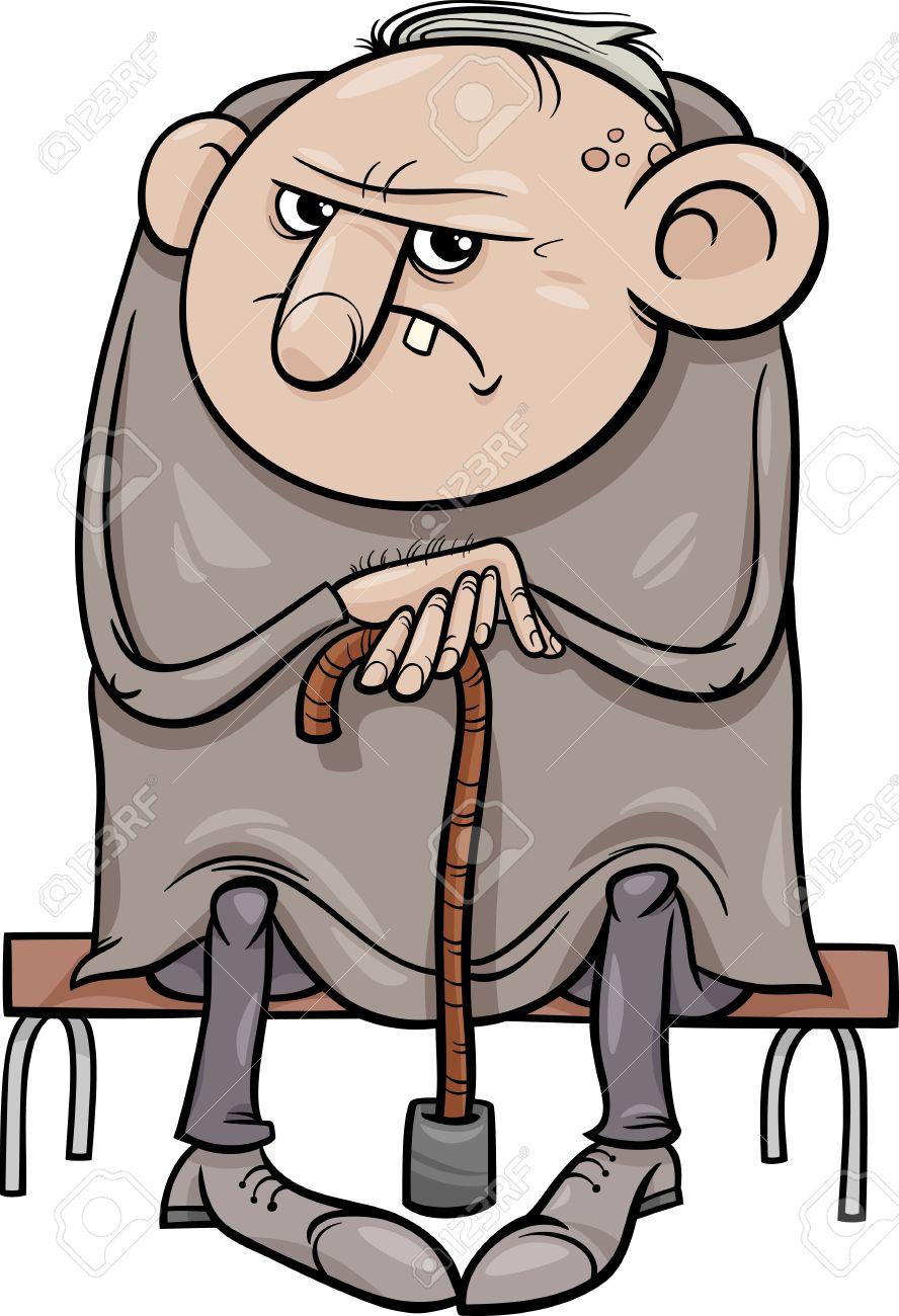 Cartoon Illustration of Grumpy Old Man Senior.