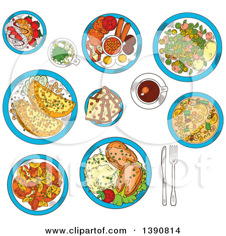 Clipart of Sketched Irish Cuisine Dishes Served with Vegetable.