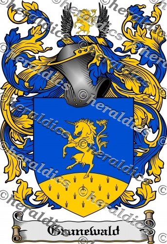 Grunewald Coat of Arms Grunewald Family Crest Instant Download.