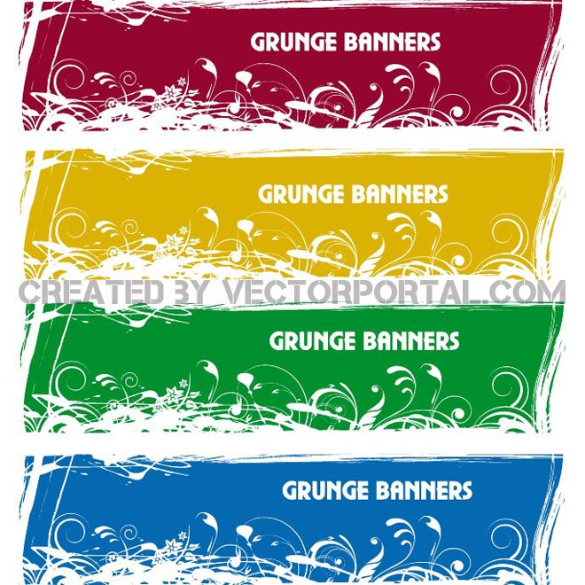 GRUNGE BANNER VECTOR SET.eps eps file.