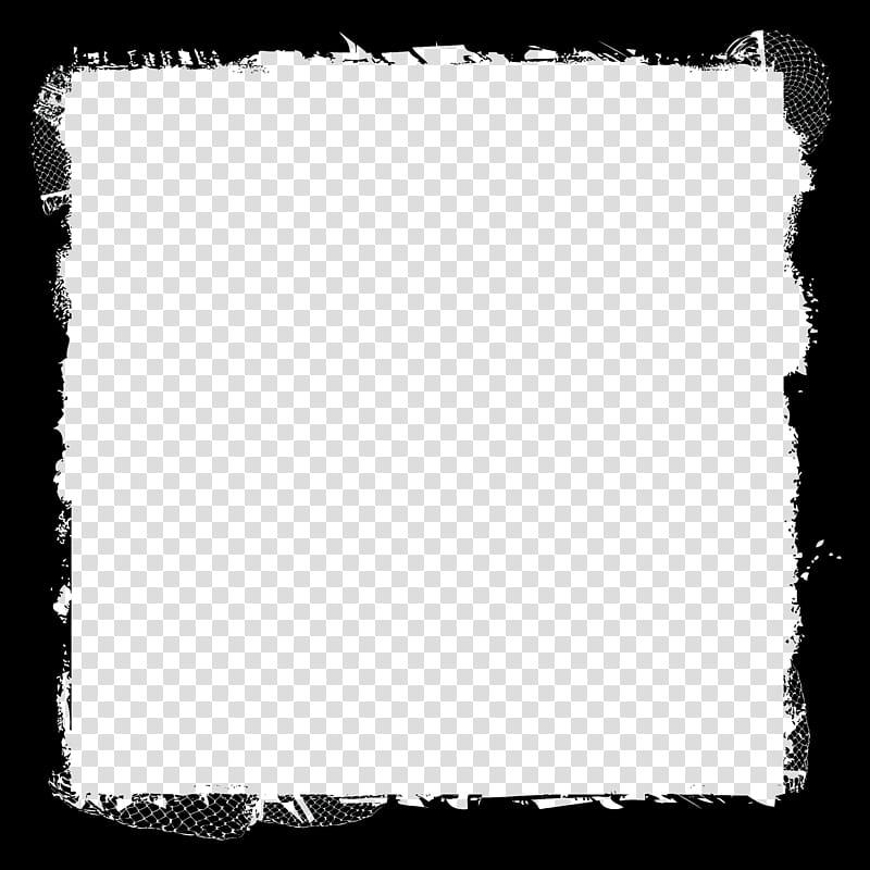 Grunge Frames, square black frame artwork transparent.