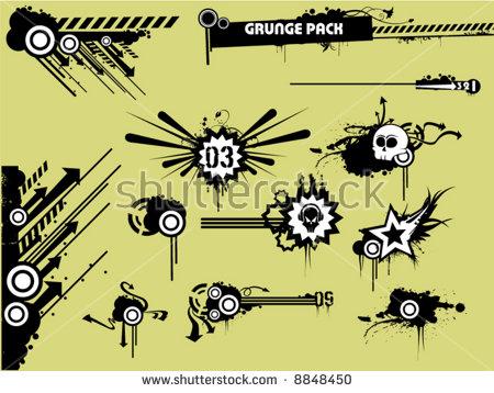 Grunge Clipart Pack Stock Vector Illustration 8848450 : Shutterstock.