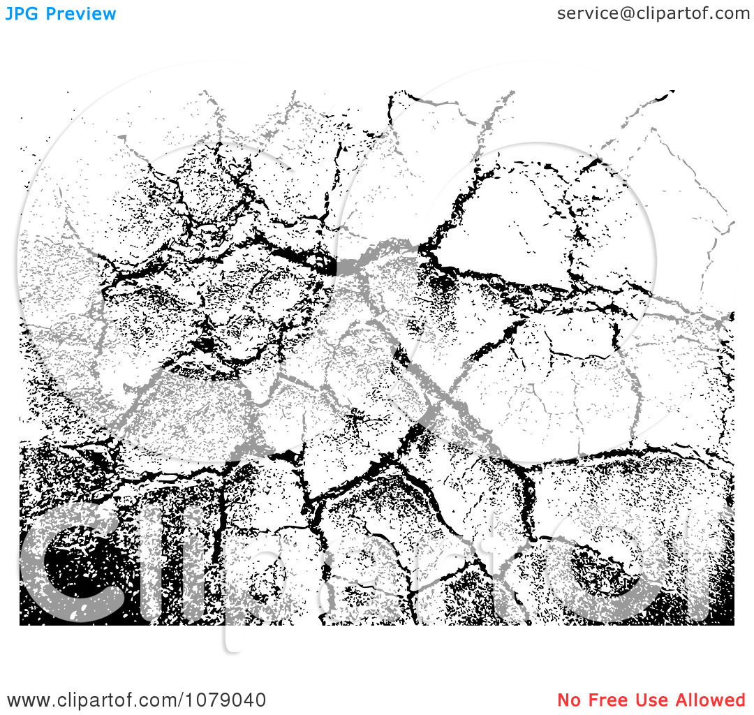 Clipart Cracking Black And White Grunge Background.