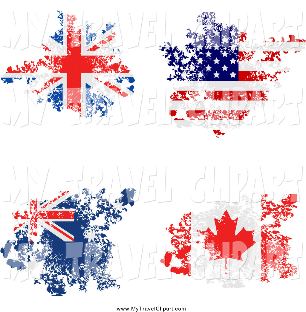 Clipart of Grungy Union Jack, America, Australian and Canadian.