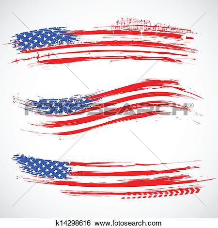 Clip Art of Grungy American Flag Banner k14298616.