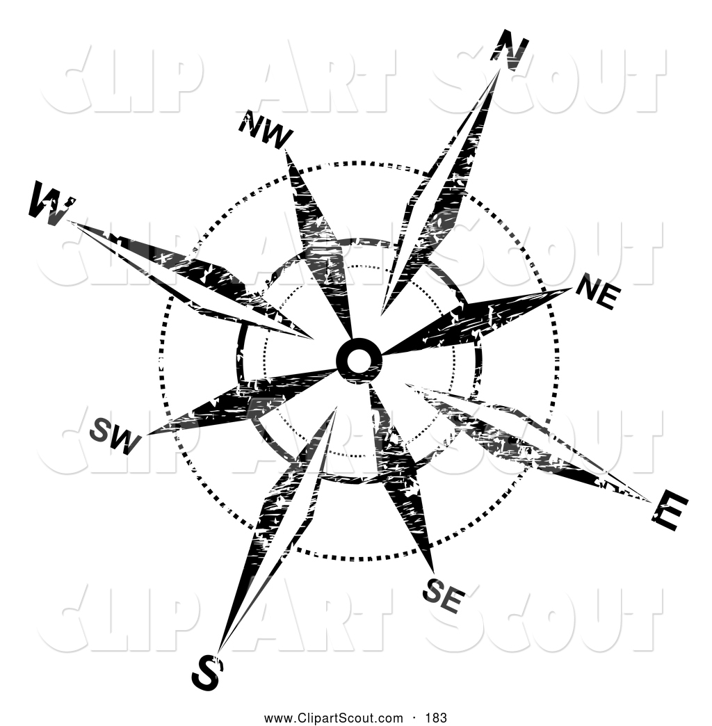 Clipart of a Grungy Black and White Compass Rose on White by.