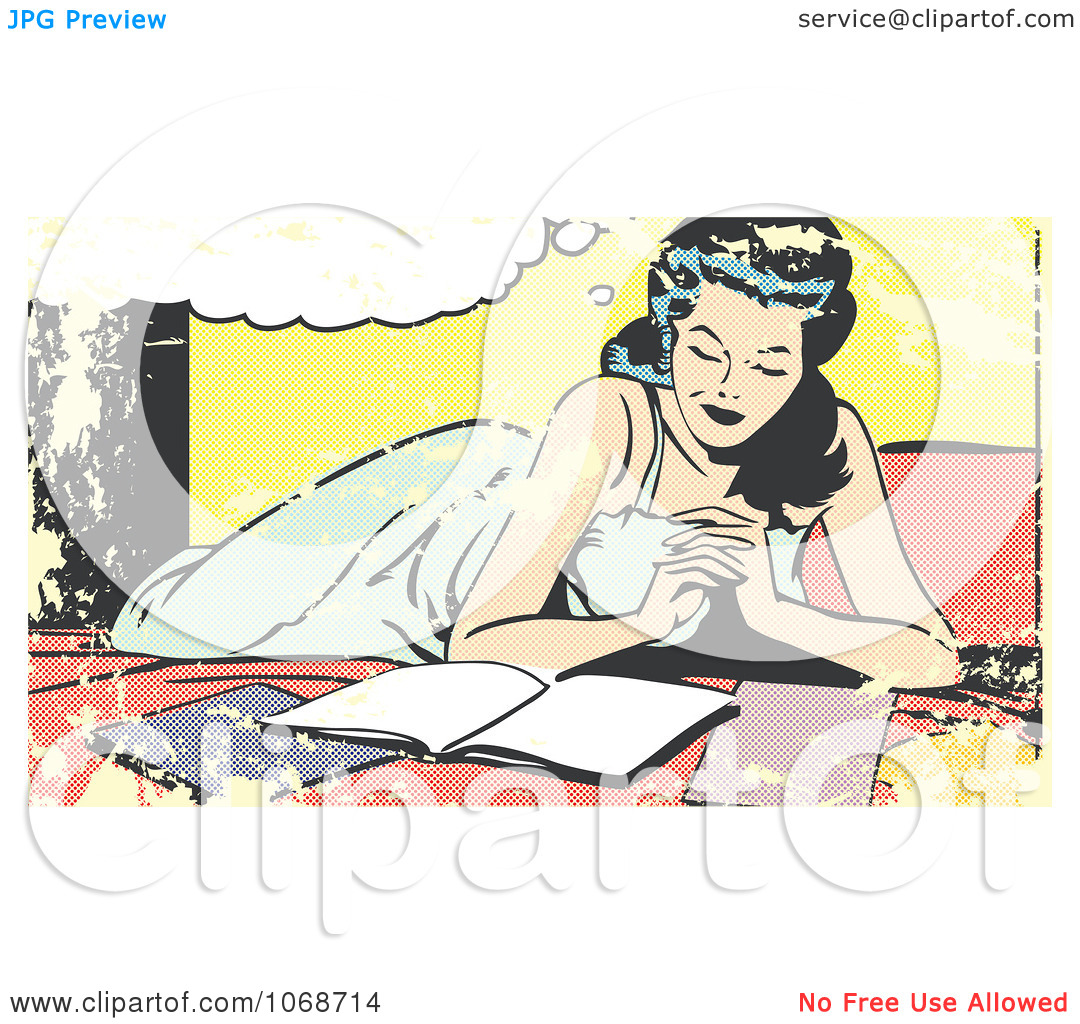 Clipart Grungy Pop Art Woman Reading On A Bed.