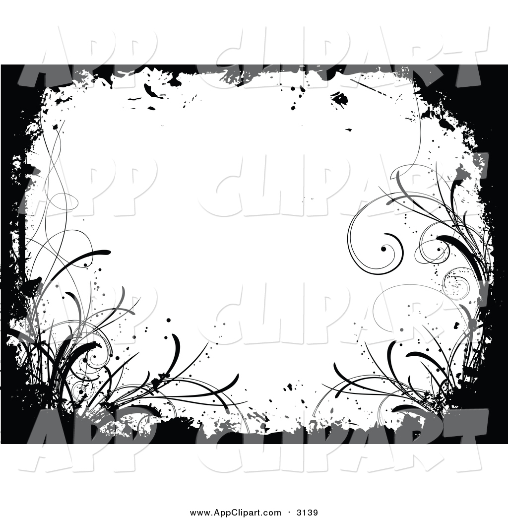 Vector Clip Art of a Grungy Black and White Floral Background with.