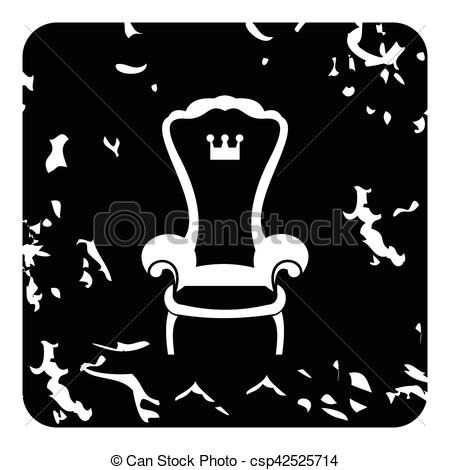 Vector Clip Art of Royal throne icon, grunge style.
