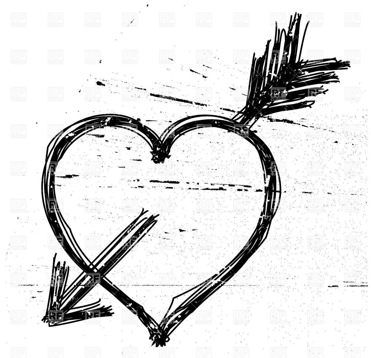 Heart pierced by arrow in grunge style.