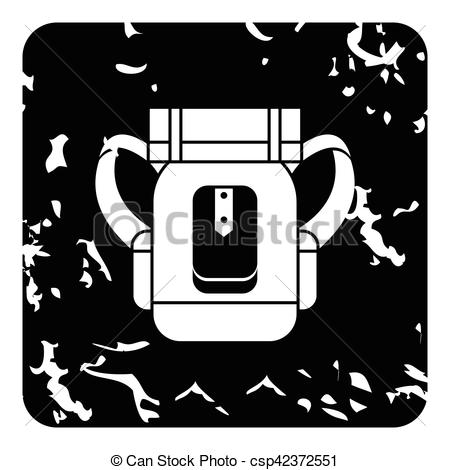 Clipart Vector of Tourist backpack with mat icon, grunge style.