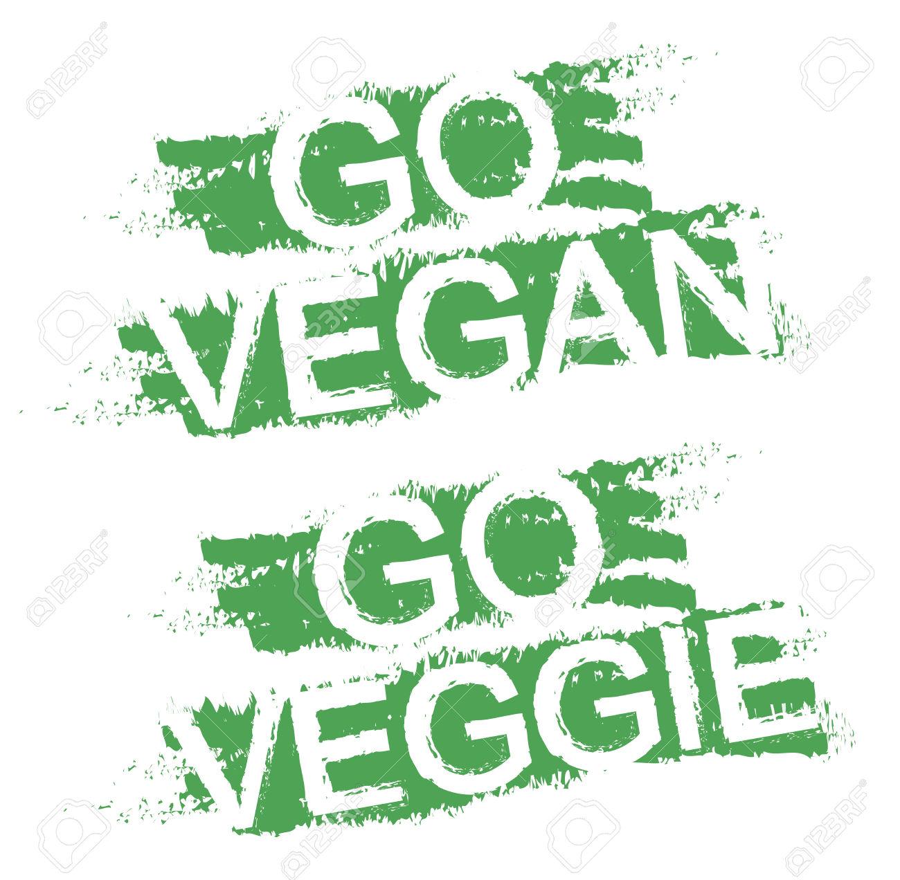 Go Vegan. Go Veggie. Vegetable Diet Grunge Style Scratched Green.