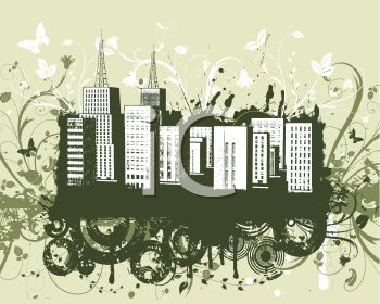 Silhouette of a Grunge Style Cityscape.