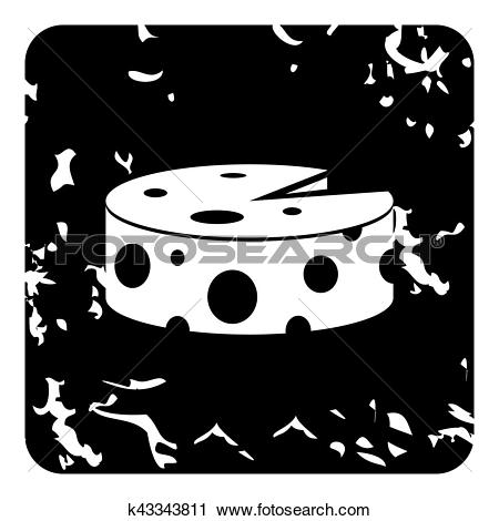 Clipart of Wheel of cheese icon, grunge style k43343811.