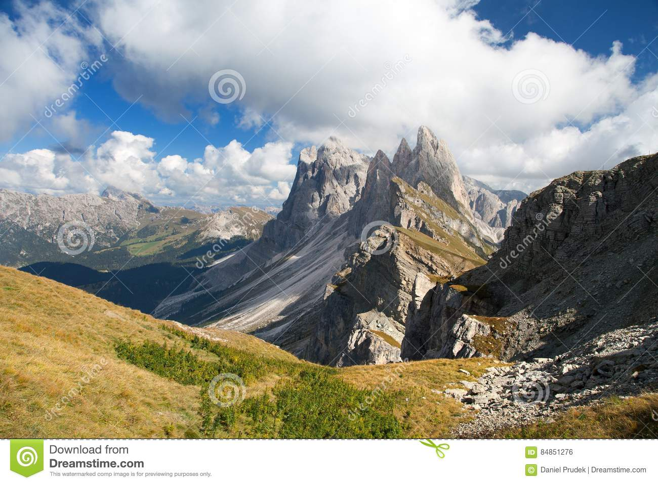 Geislergruppe Or Gruppo Delle Odle, Italian Dolomites Stock Photo.