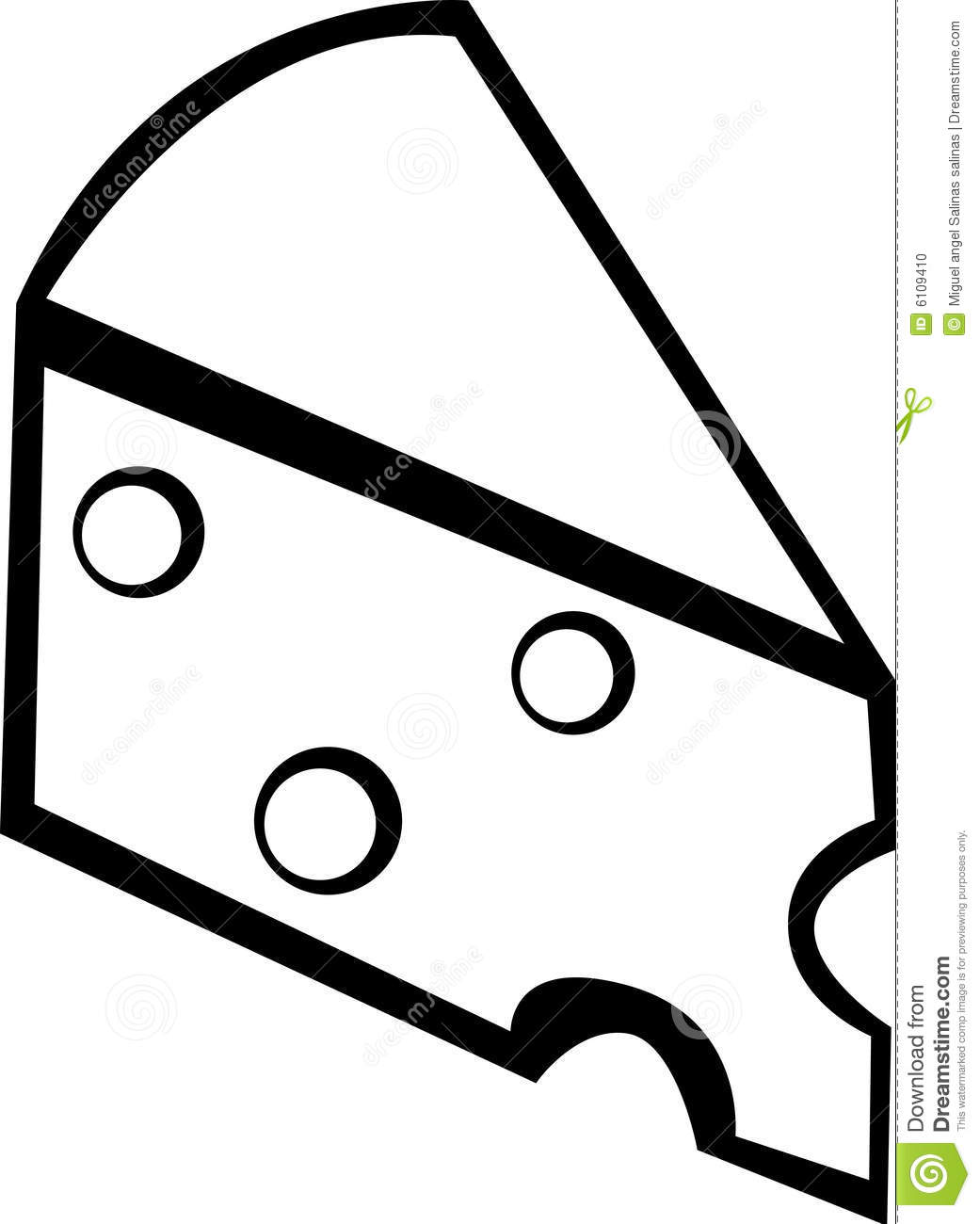 Swiss Or Gruyere Cheese Slice Vector Illustration Stock Photo.