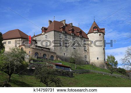 Stock Photography of Chateau de Gruyeres, Switzerland k14759731.