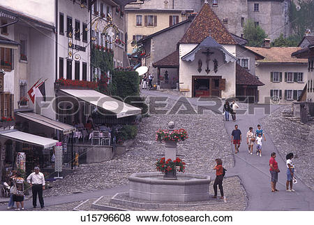 Pictures of Switzerland, Gruyeres, Fribourg, Cobblestone.