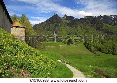 Pictures of Beautiful landscape with Gruyere Castle,footpath.