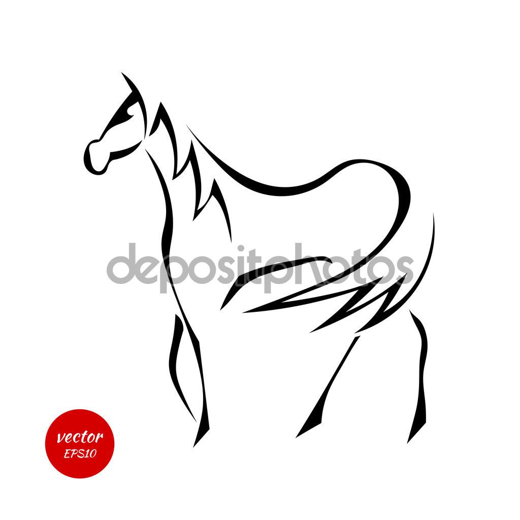 Sylwetka konia z piękne grzywa na białym tle na biały backg.