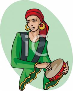 Gypsy Woman With a Tambourine Clip Art Image.
