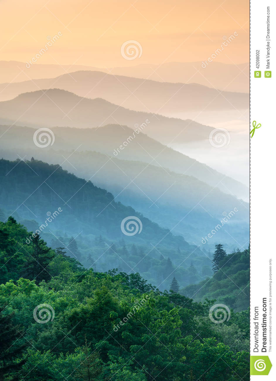 Great Smoky Mountains Oconaluftee Valley Sunrise Stock Photo.