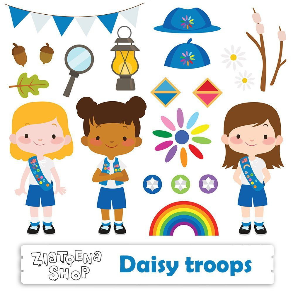 Daisy Troop Clip art Scout Girl Clip art Camping Digital.