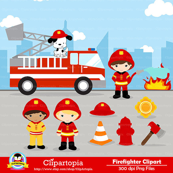 Firefighter Fire Truck Clipart.