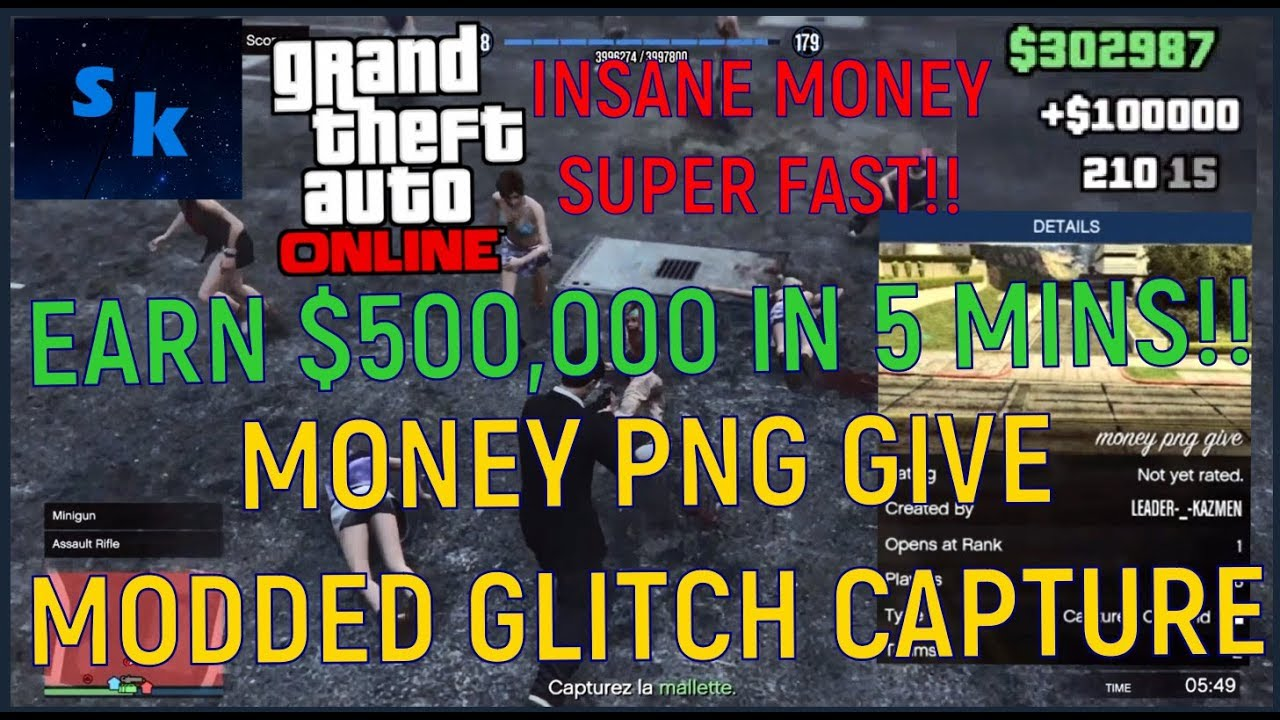 this GTA 5 glitch gives you $500,000 in 5 mins!! (GTA 5 GLITCH CAPTURE  'MONEY PNG GIVE') *PATCHED*.