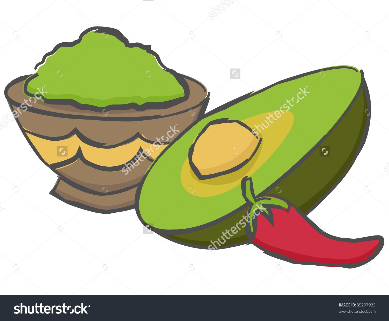 Bowl Guacamole Freshly Cut Avocado Red Stock Vector 85207933.