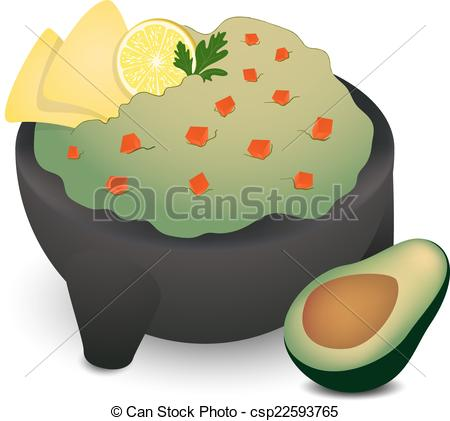 Clip Art Vector of Guacamole in Traditional Mexican Molcajete with.