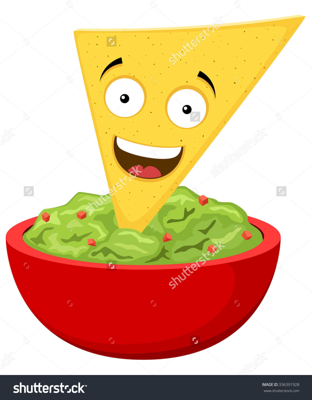 Bowls clipart cute face with guacamole.
