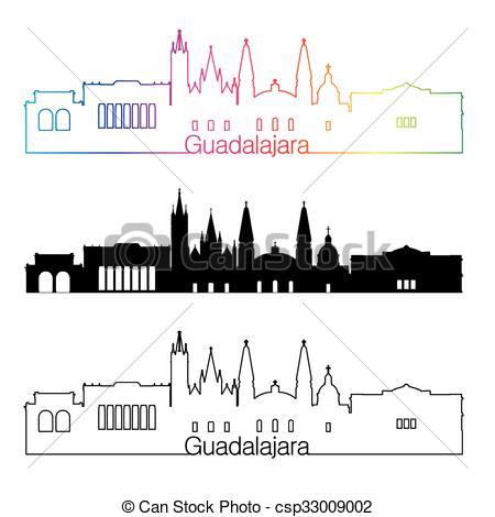 Vector Clipart of Guadalajara skyline linear style with rainbow.