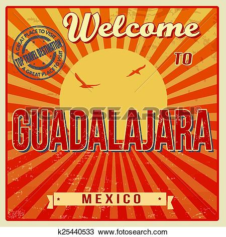 Clipart of Guadalajara, Mexico vintage poster k25440533.