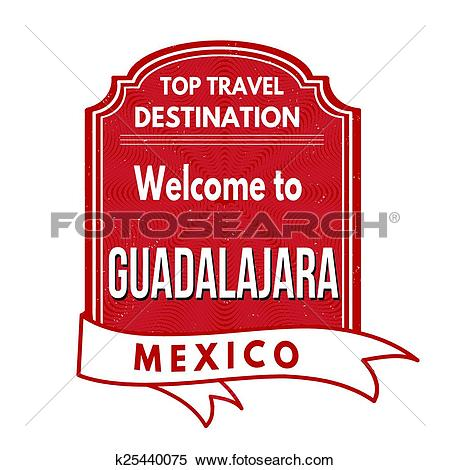 Clipart of Welcome to Guadalajara stamp k25440075.