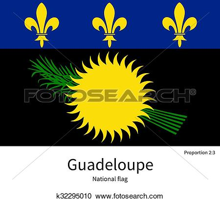 Clipart of National flag of Guadeloupe with correct proportions.
