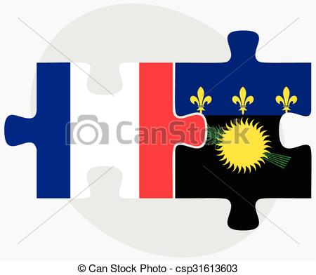 Vector Clipart of France and Guadeloupe Flags in puzzle isolated.