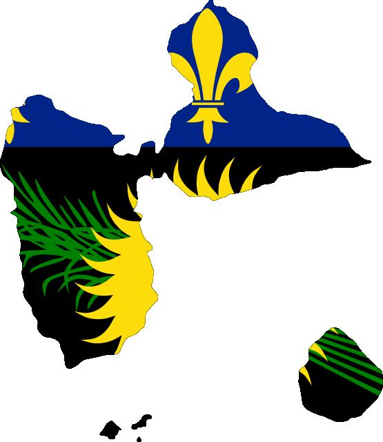 Clip Art: Flag Map of Guadeloupe Local Drapeau.