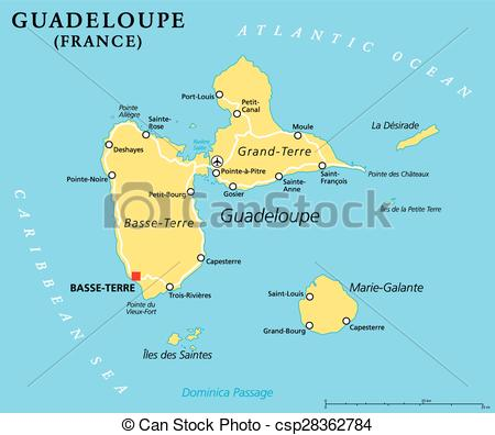 Vector of Guadeloupe Political Map with capital Basse.