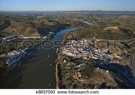Stock Photography of Aerial view of the Guadiana river as it.