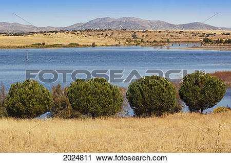 Stock Photography of El Vicario Dam On The Guadiana River Near.
