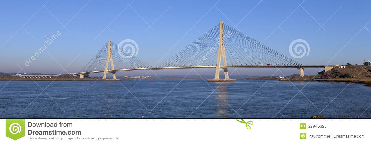 Bridge Over The Guadiana River In Ayamonte Royalty Free Stock.
