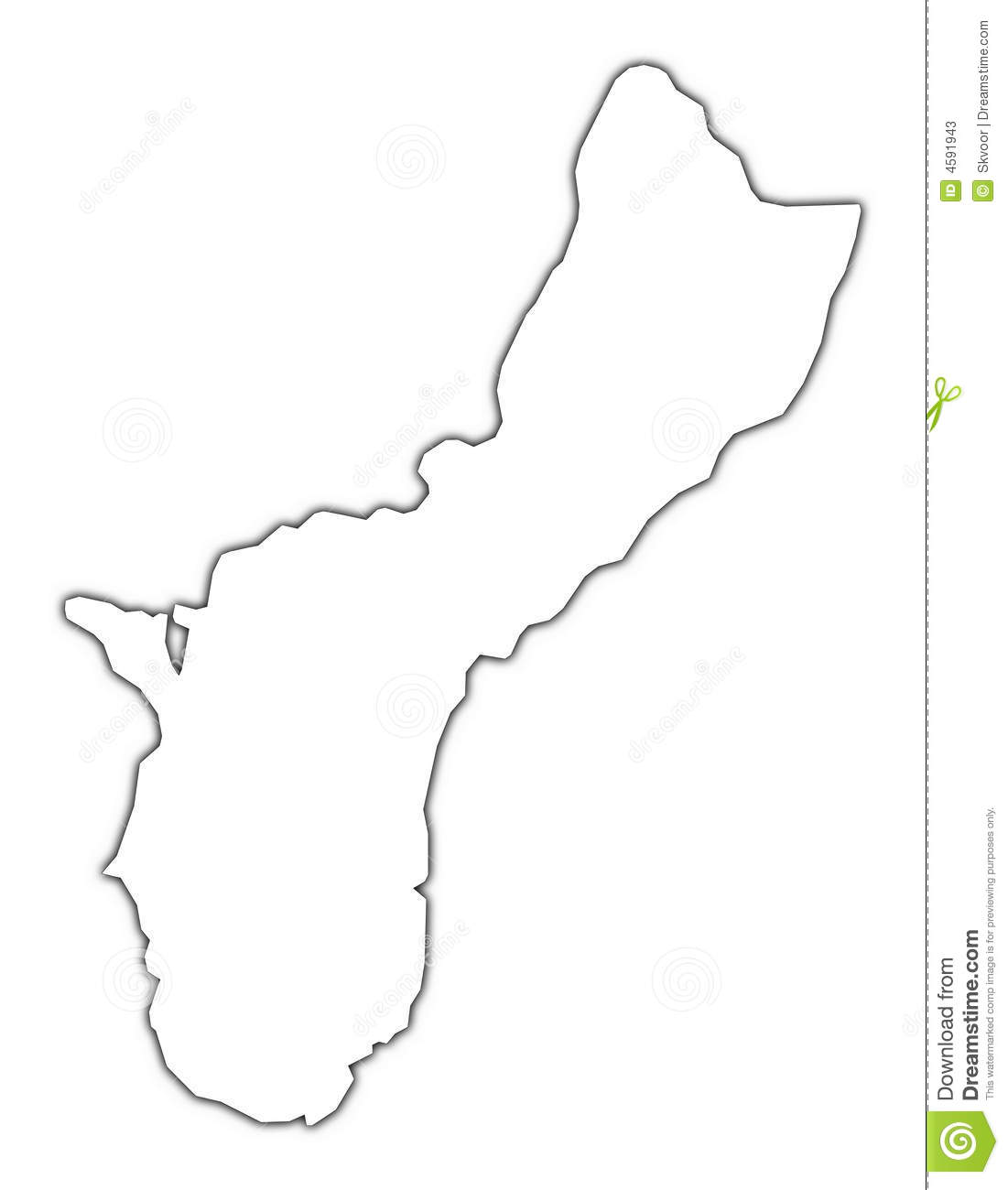 Guam Outline Map Stock Photos.