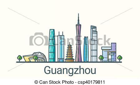 Vector Clip Art of Flat line Guangzhou banner.