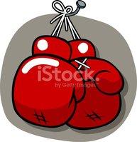 Colgar Los Guantes DE Boxeo Stock Vector.