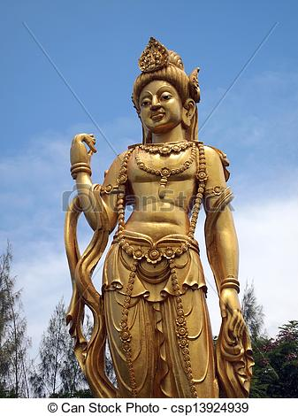 Stock Photos of Statue of godness Guan Yin in the ancient city.