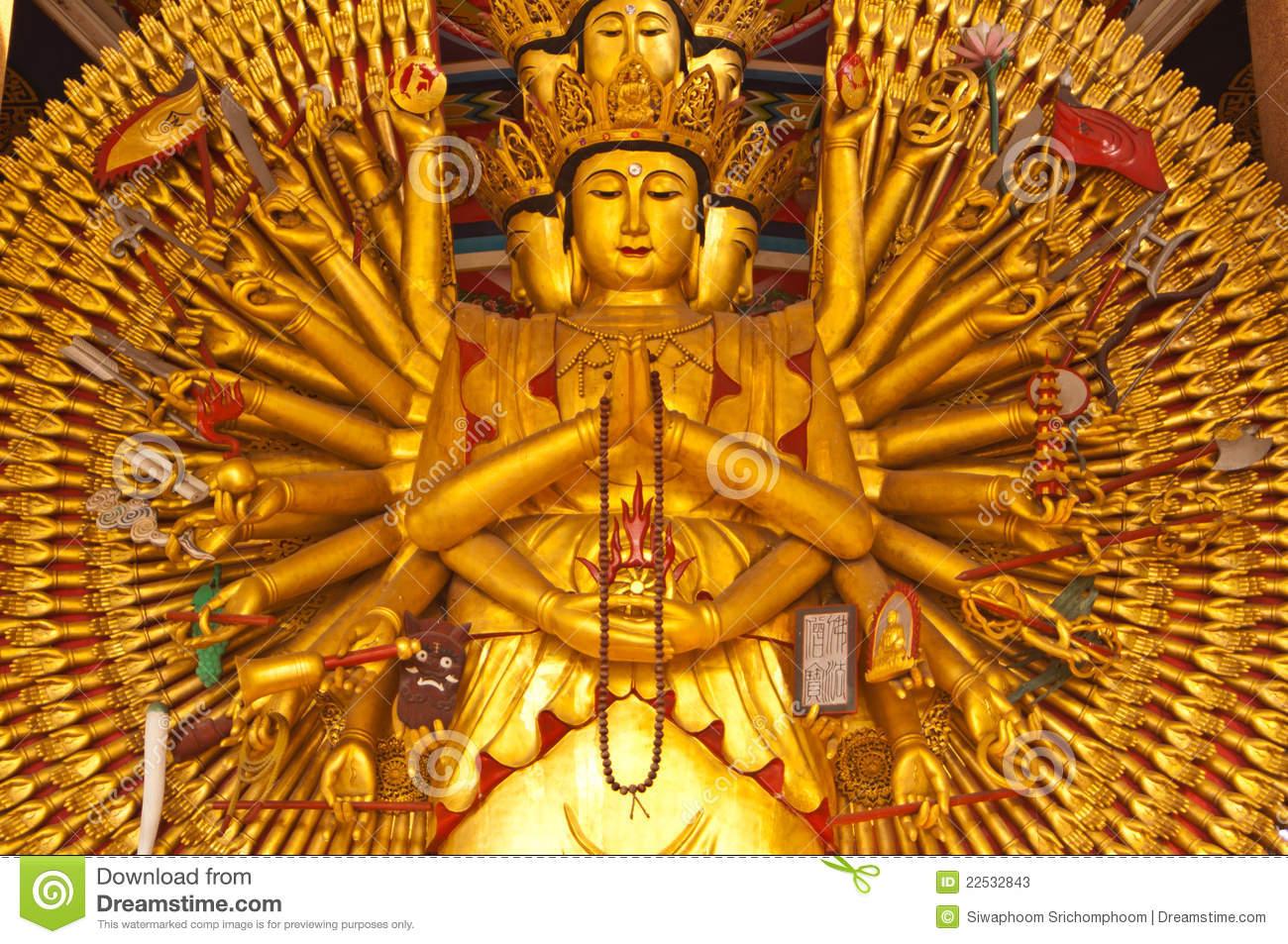 Guan Yin With Ten Thousand Hands Stock Photo.